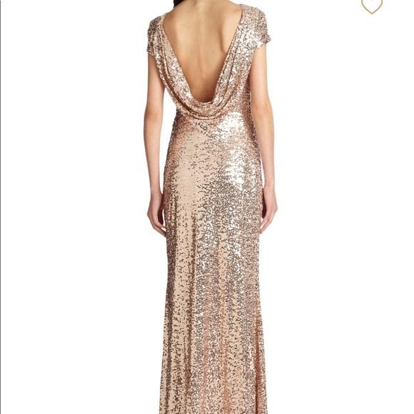 cbf49229fd532 Badgley Mischka Dresses & Skirts - Badgley Mischka Rose Gold Cowl Back Gown  Size 2